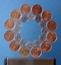 Bridges Math-Art 2017 - Kissing Bracelet  Uruguay and Canadian coins - robin linhope willson