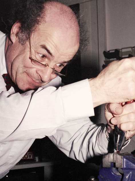 Heinz Wolff with pliers and vice 1993b - robin linhope willson