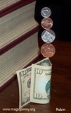 magnetic coins balanced on US 10 dollar bill - robin linhope willson